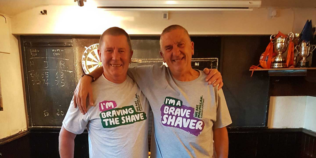Brave shavers after their haircut